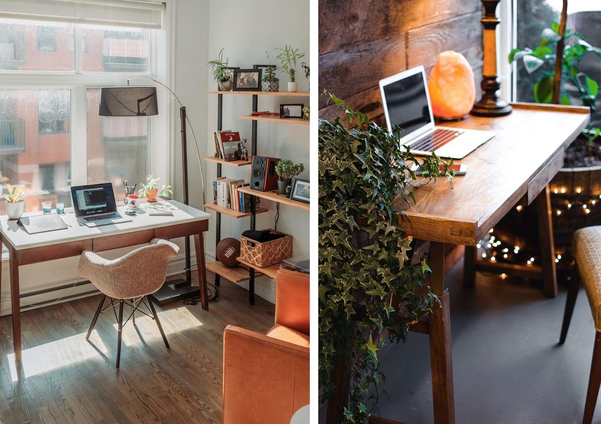 Lumière et fenêtre au bureau, lampe et lumière naturelle télétravail