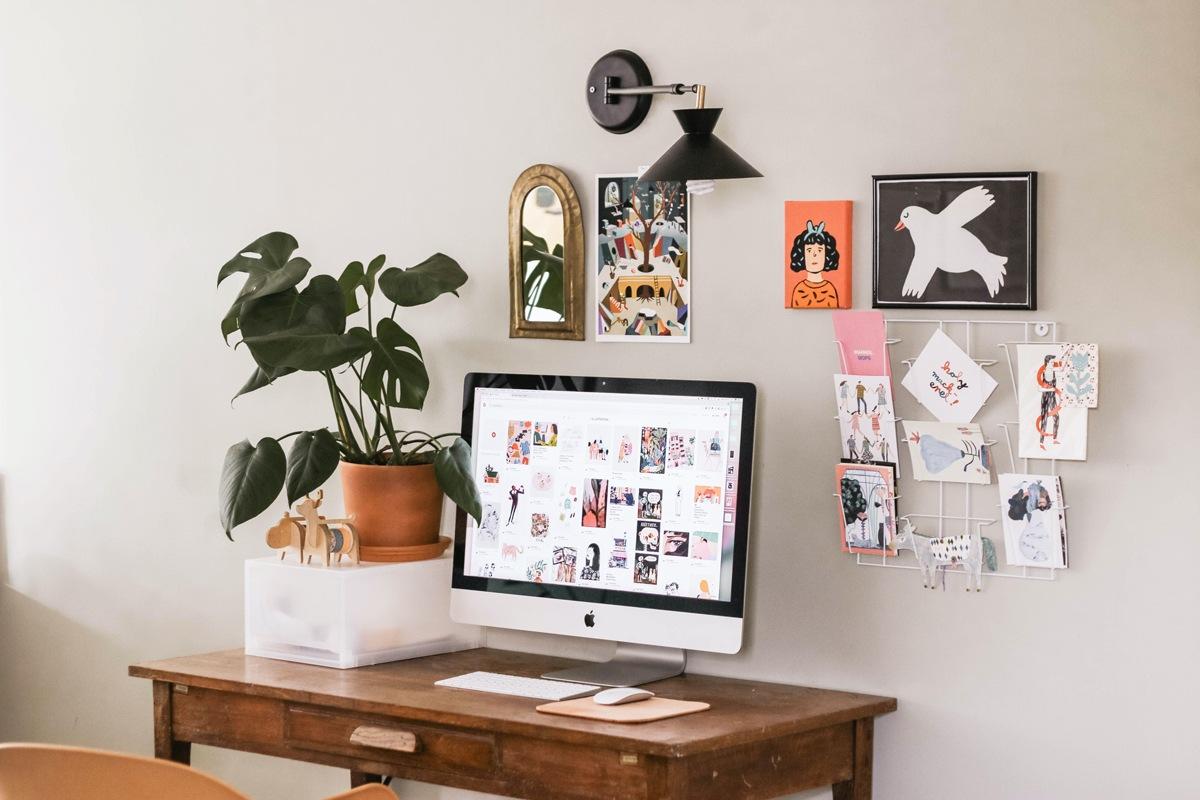 Mood board et home office bureau