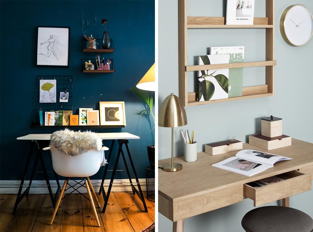 Mood board sur des etagères : aménager un bureau inspirant et créatif