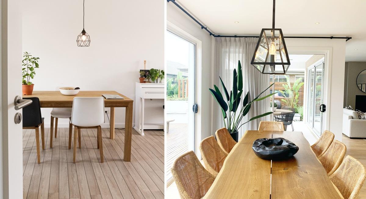 Tables en bois, lignes épurées et modernes