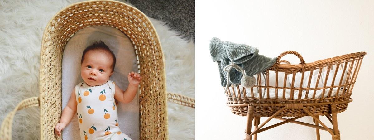 Couffin en osier vintage pour bébé, chambre naturelle déco nature