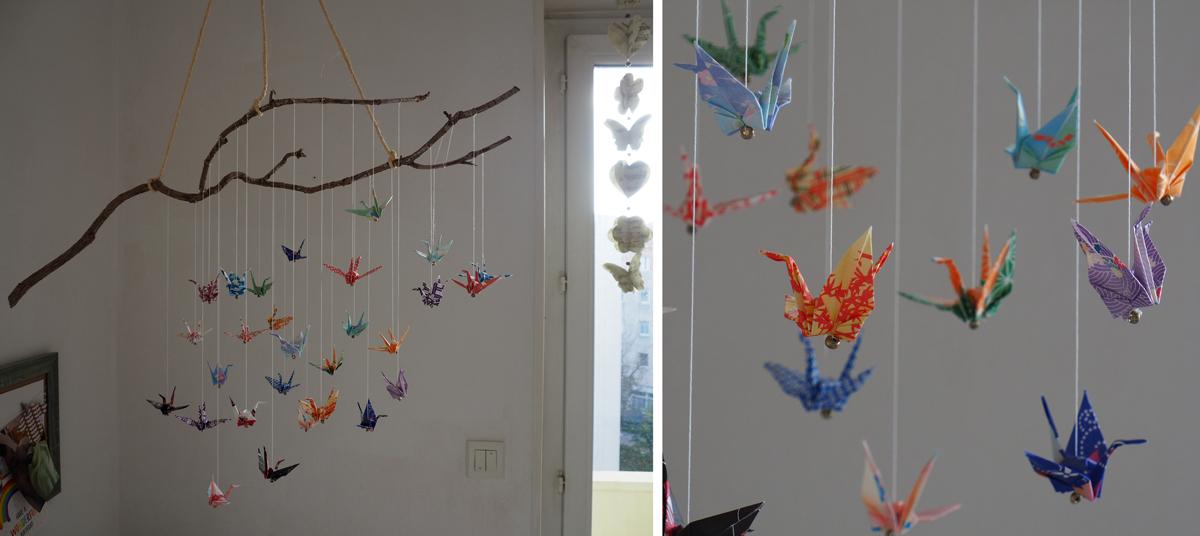 Mobile DIY origami grues branche déco japon