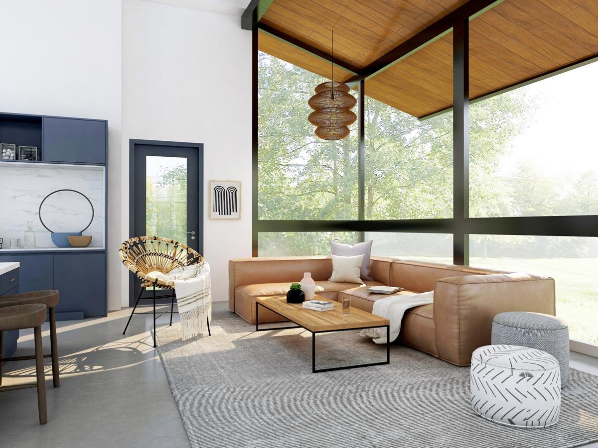 Un grand tapis dans le salon pour apporter de la cohésion et délimiter un espace convivial