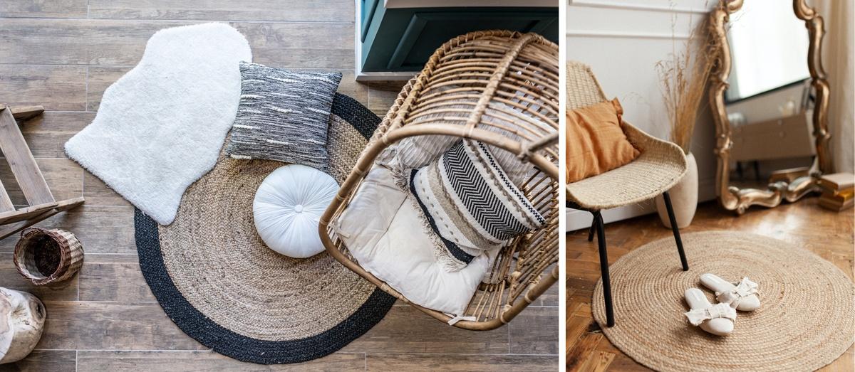 Tapis rond et fauteuil : un espace cosy hygge bohème