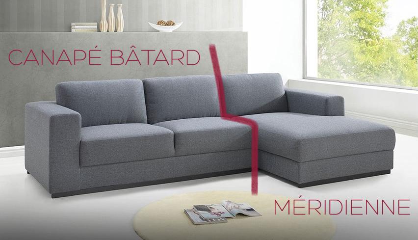 Canapé bâtard et méridienne accoudoir : canapé d'angle