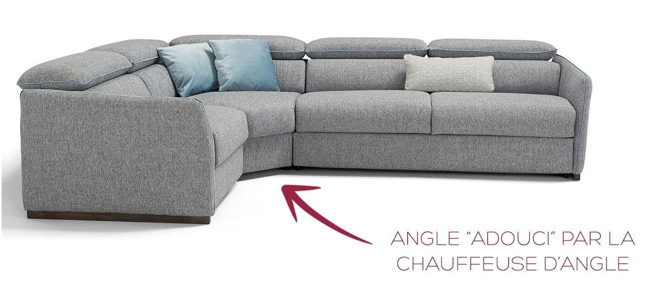 Canapé d'angle avec un angle adouci Mercantour haut de gamme design