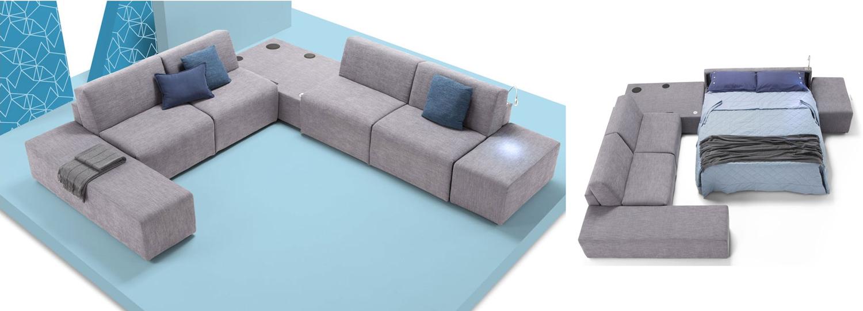 Canapé panoramique en U Cossato convertible et design haut de gamme avec accessoires et lampes intégrées