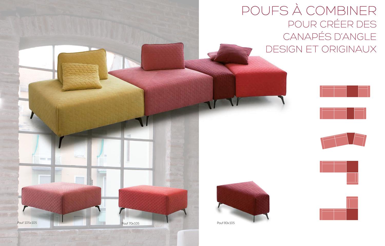 Poufs à combiner pour créer des canapés d'angles modulables et design