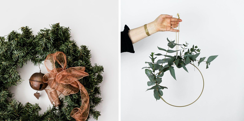 Couronne de Noël à fabriquer soi-même, inspirations, idées, déco minimaliste