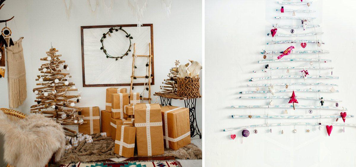 Sapin de Noël en bois flotté, déco DIY à faire soi-même à la maison