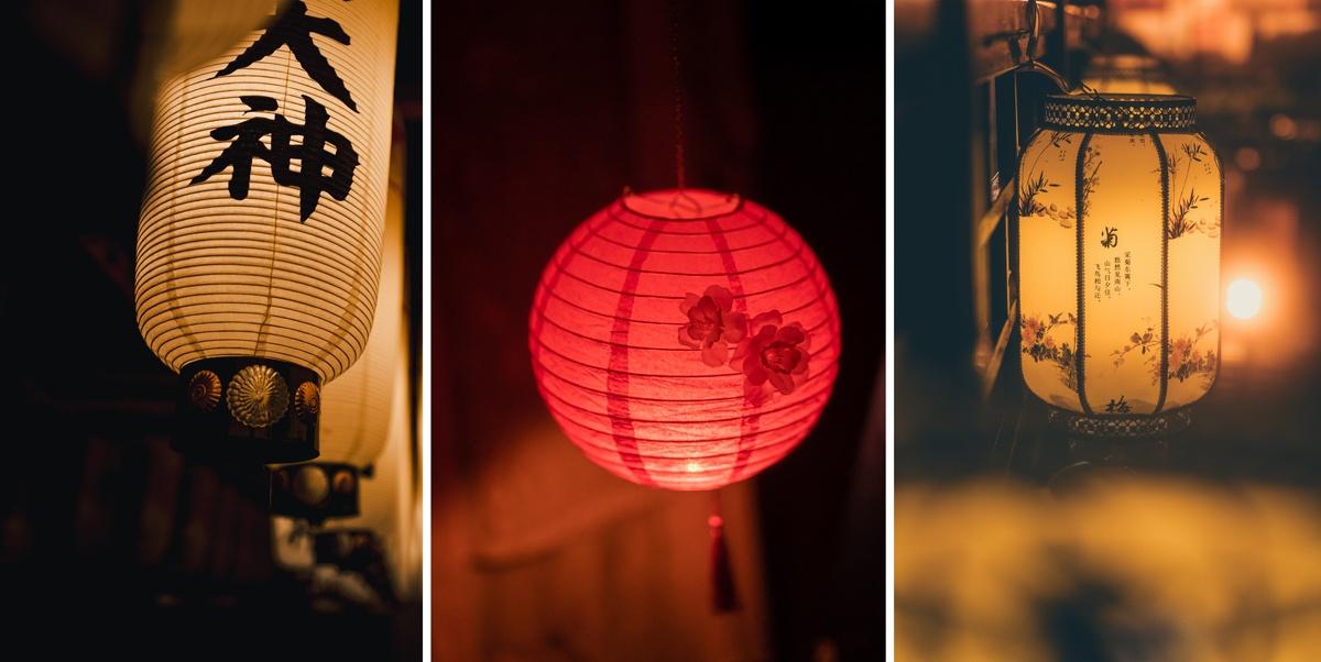 Lampions papier style asiatique, chinois, japonais