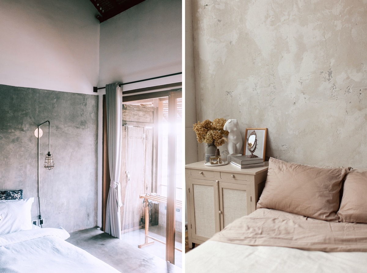 Murs bruts et textures naturelles dans la chambre à coucher