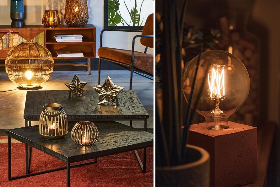 Lumière tamisée et chaleureuse, ambiance cosy et lampes design