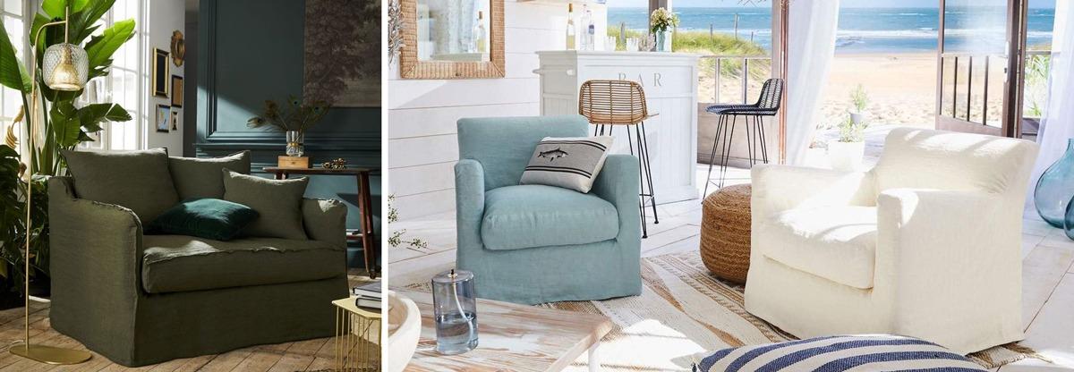 Fauteuil en lin froissé : fauteuil Sanary, fauteuil Saint-Briac