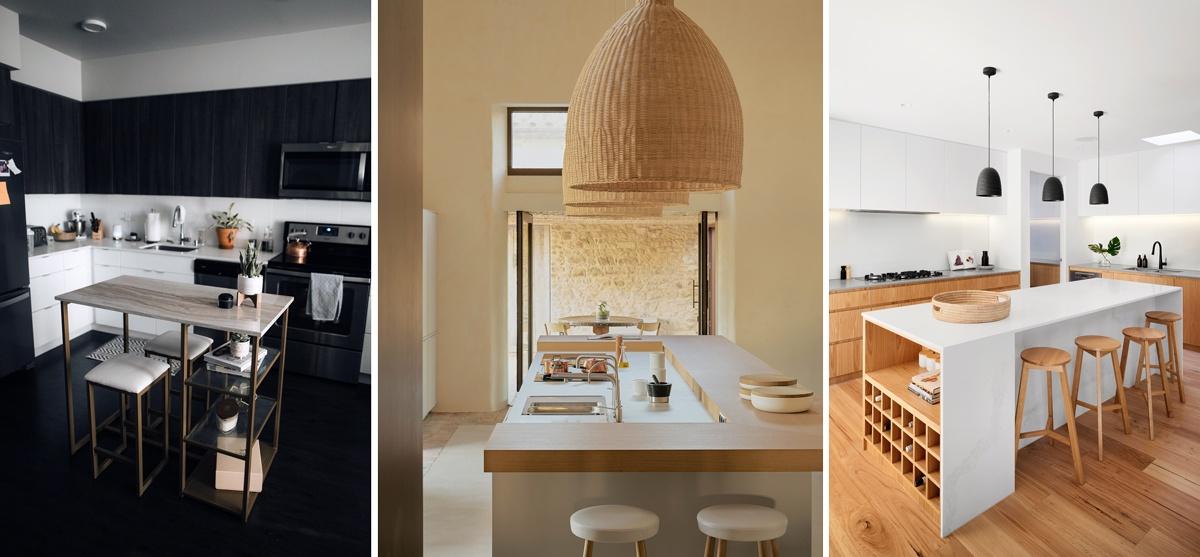 Un îlot central dans la cuisine : coin repas et plan de travail à la fois