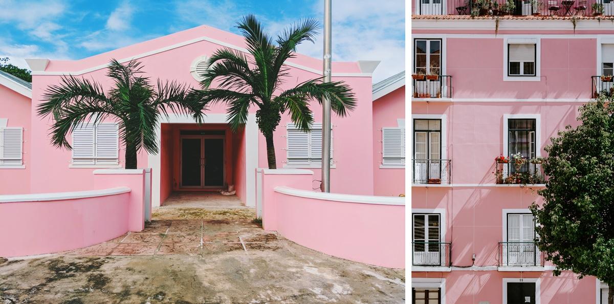 Maison rose façade crépis rose, californie ou provence