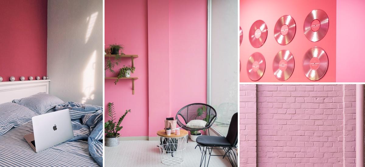 Peindre un pan de mur en rose