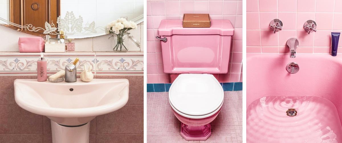 Salle de bain rose, carrelage rose, baignoire, douche lavabo pink rose