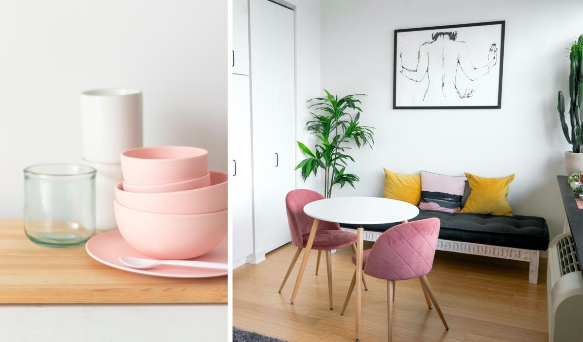 Vaisselle rose et chaises roses