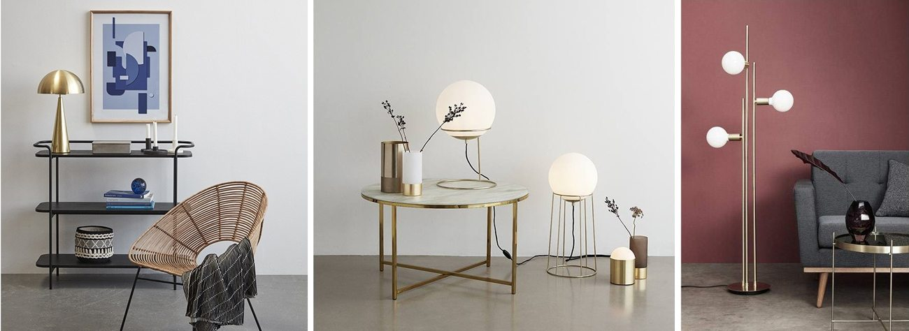 Lampes dorées laiton décoration or Hübsch Interiors
