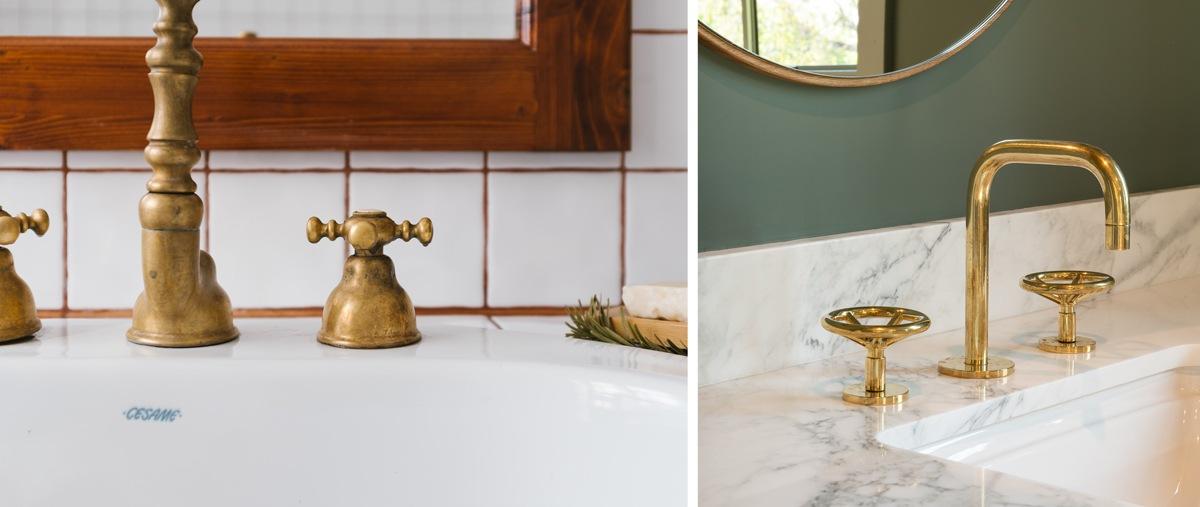 Robinets dorés en laiton salle de bain