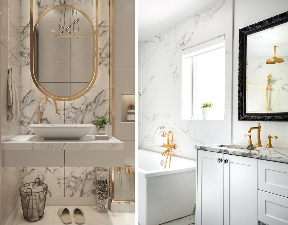 Salle de bain robinetterie dorée laiton