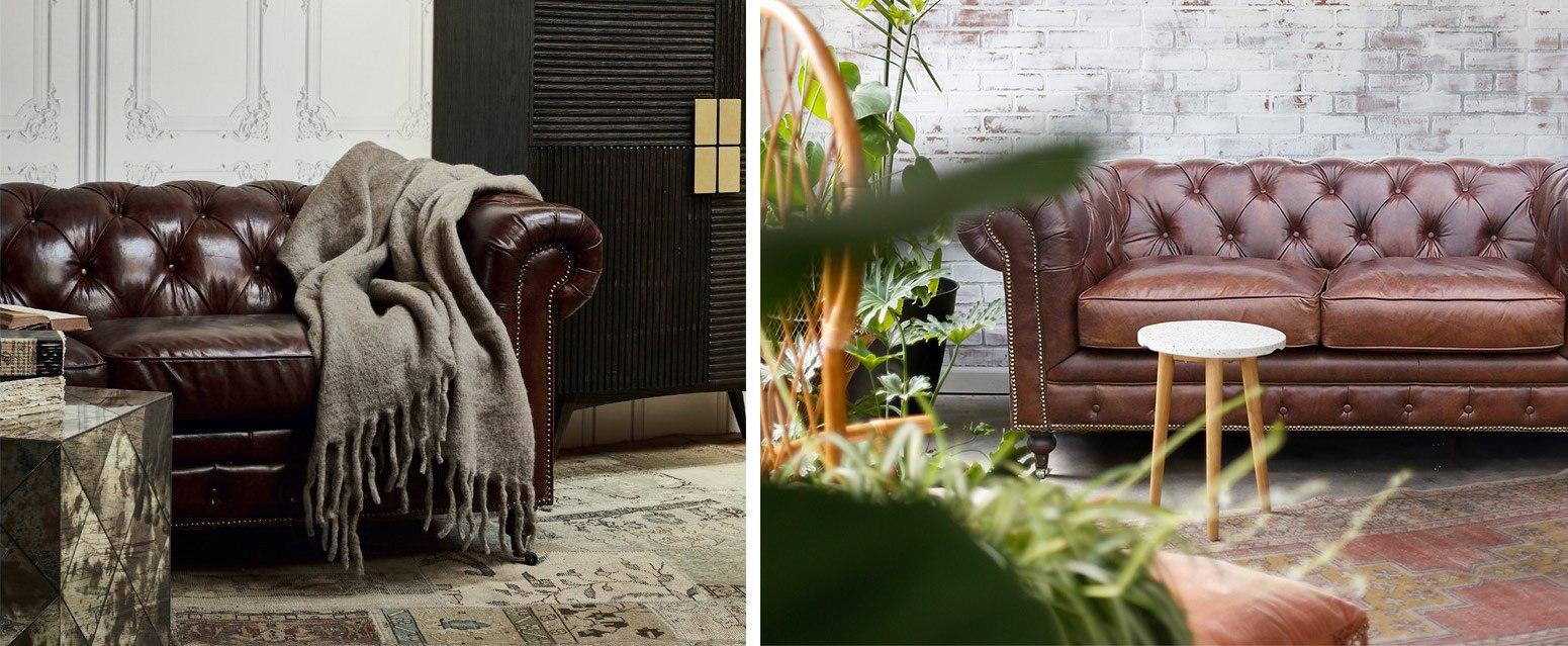 Canapé Chesterfield traditionnel et original en cuir capitonné