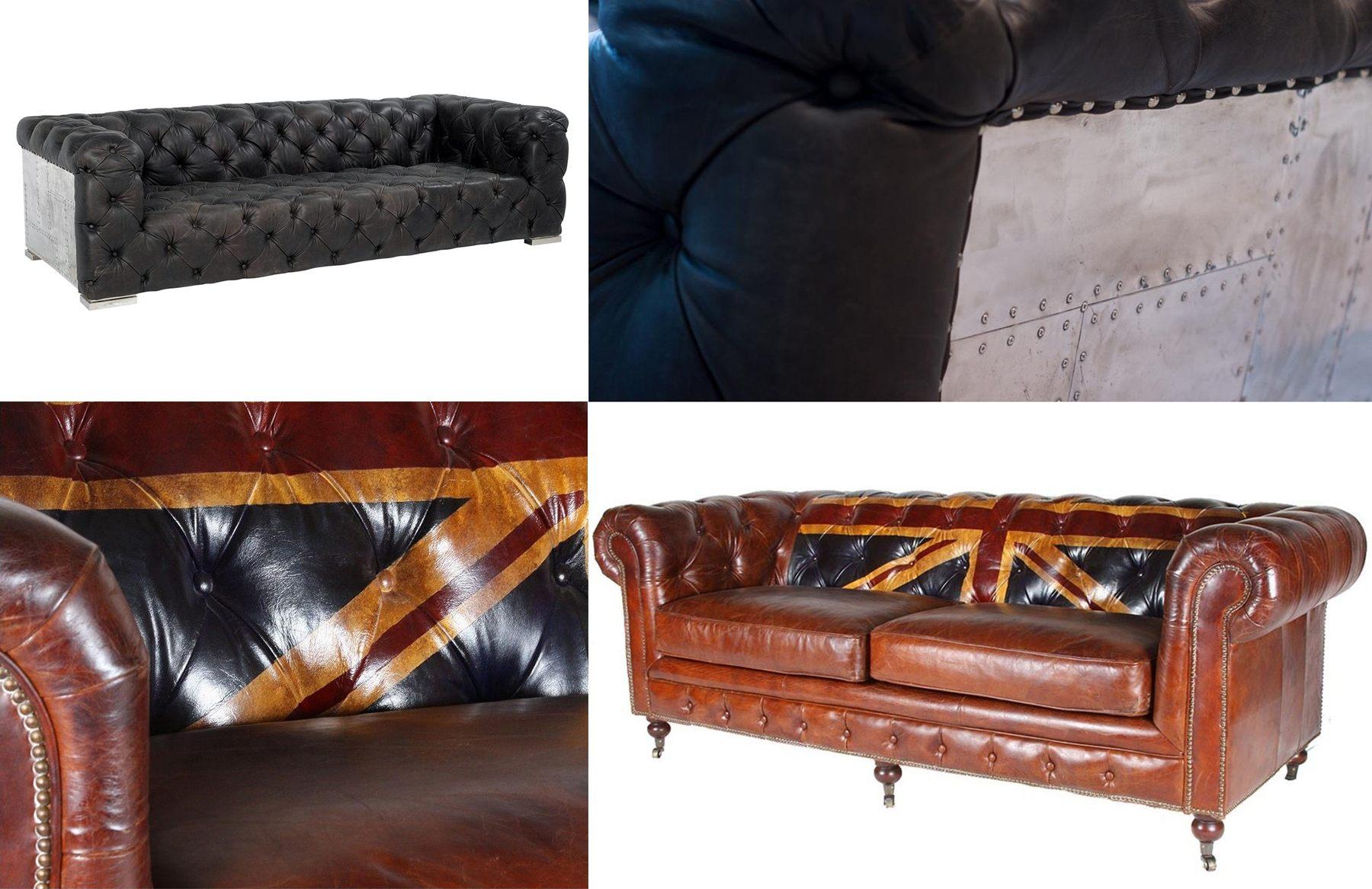 Canapés Chesterfield Union Jack et plaques de métal style industriel