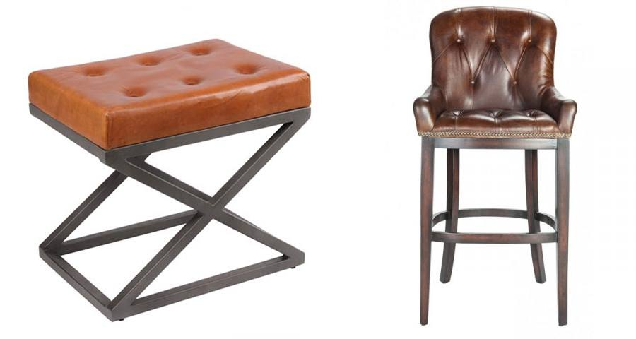 Chaise de bar et pouf en cuir capitonné type Chesterfield déco industrielle