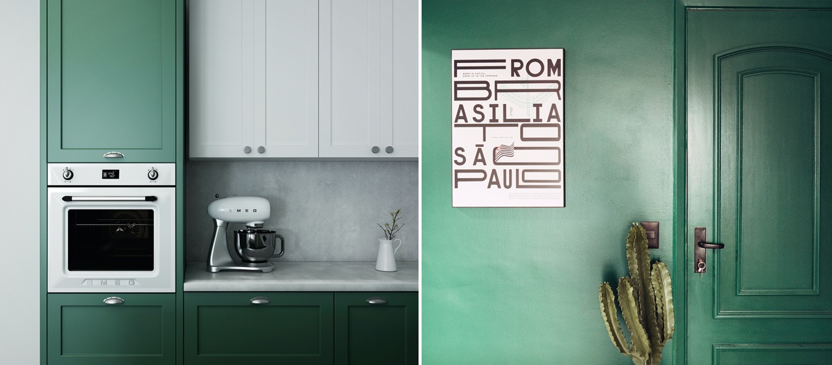 Cuisine peinte en vert, mur et porte verts.