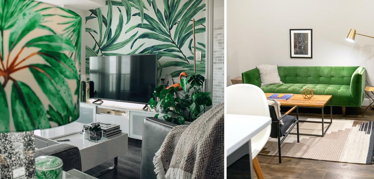 Décoration vert avec canapé vert et papier peint tropical à feuilles vertes