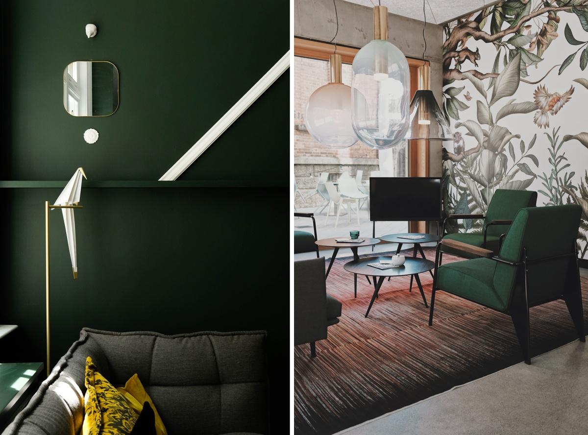 Mur vertfoncé et fauteuil en tissu vert vintage rétro scandinave mid-century modern mcm