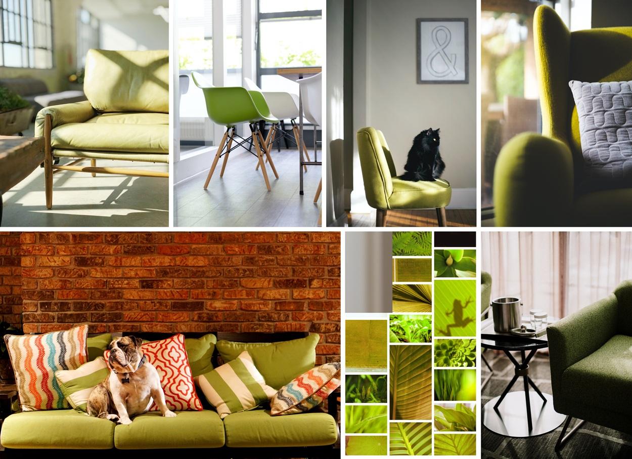 Vert anis, vert amande, vert pistache : du vert avec une pointe de jaune dans la décoratioon