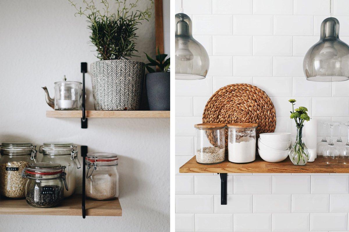 Bocaux et pots sur les étagères de la cuisine