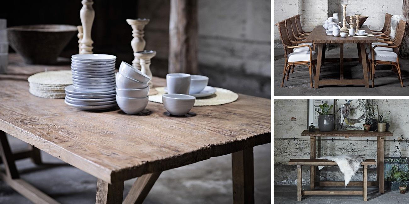 Teck recyclé / Recycled teak : bureau, table, bancs... Sika Design