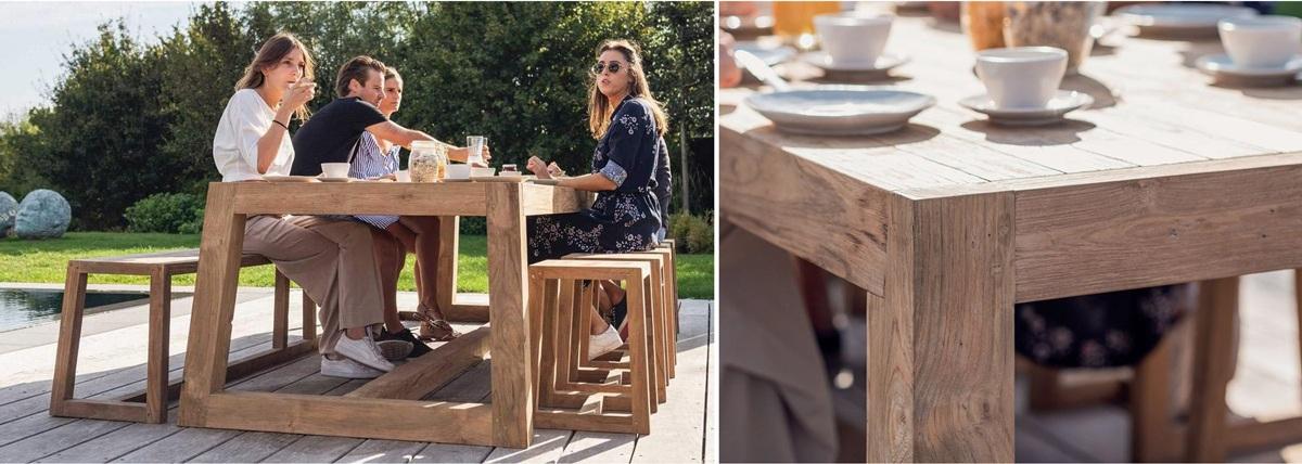 Table en teck jardin Loch Lomond Design haut de gamme