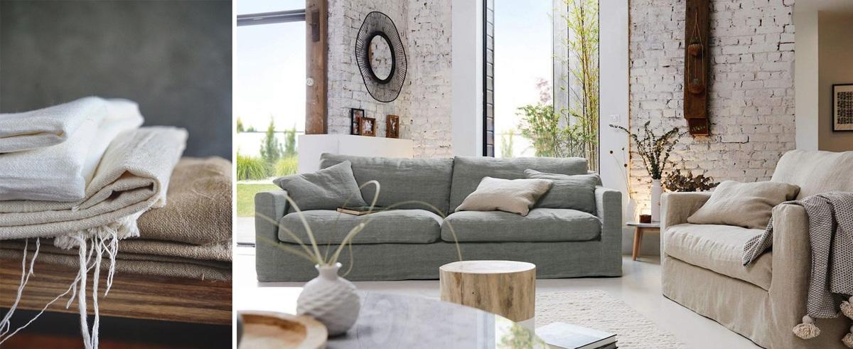 Le lin : une fibre écologique. Canapé en lin froissé