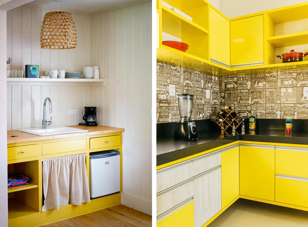 Cuisine en jaune : peindre les placards ou les étagères yellow