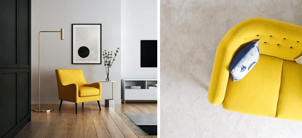 Canapé ou fauteuil jaune dans une pièce neutre : déco colorée et design