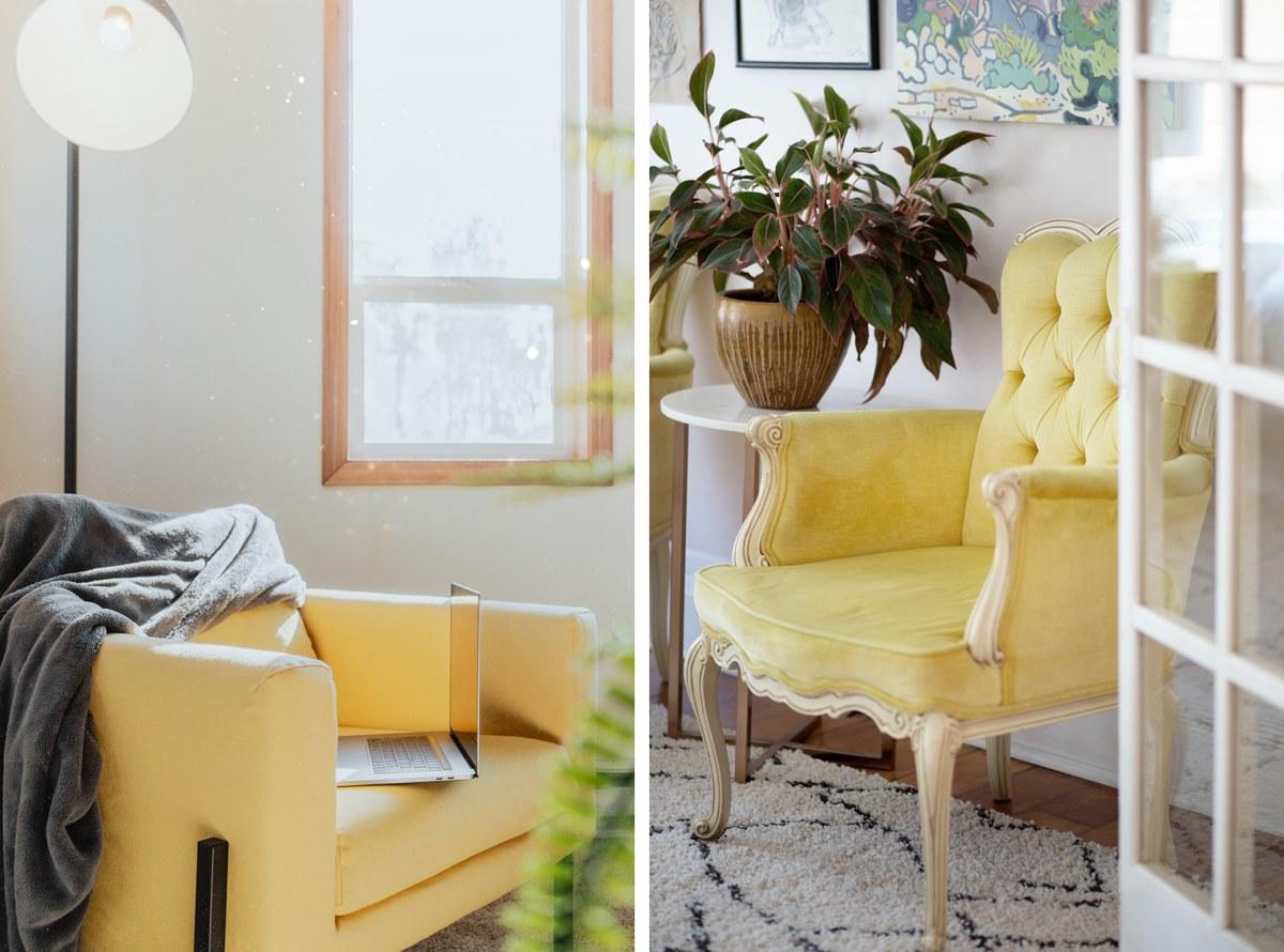 Jaune pastel, jaune clair, jaune paille pour la décoration