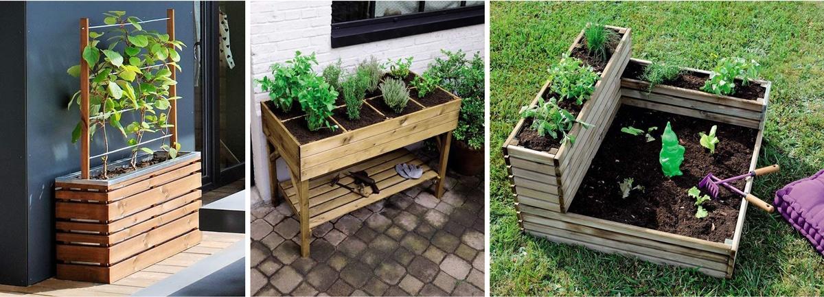 Carré potager et jardinière pour faire un potager sur le balcon ou au jardin
