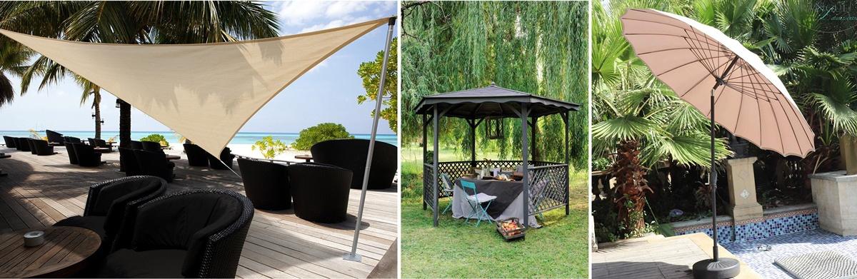 Ombre soleil et UV au jardin : pergola, voile d'ombrage et parasol