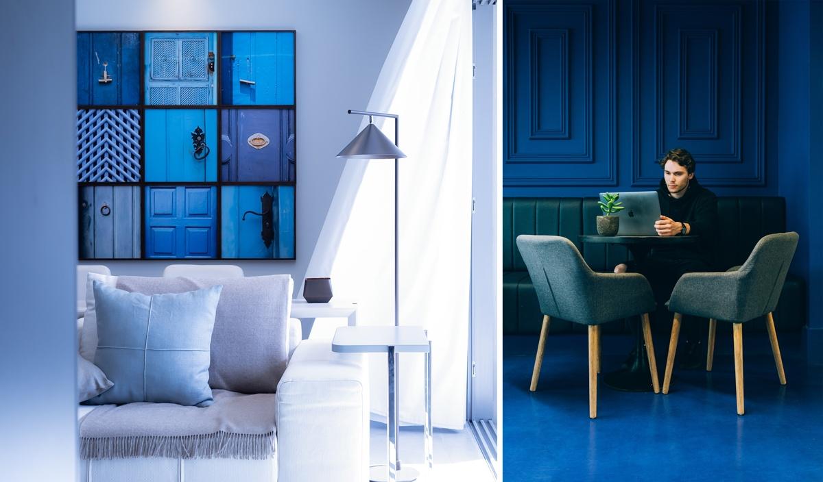 Bleu flashy bleu pur déco maison