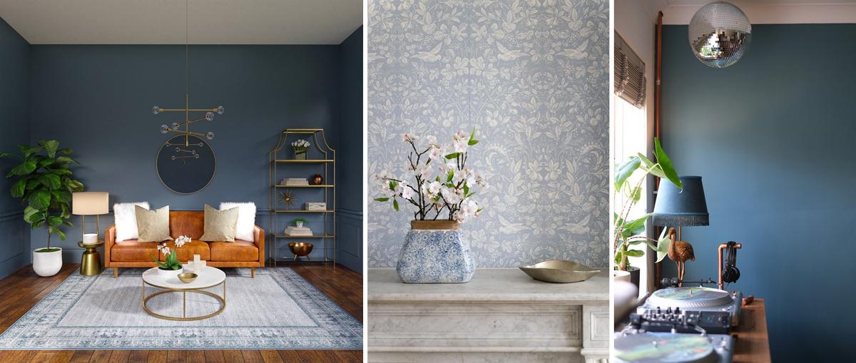 Une couleur bleu-gris pour un intérieur délicatement coloré