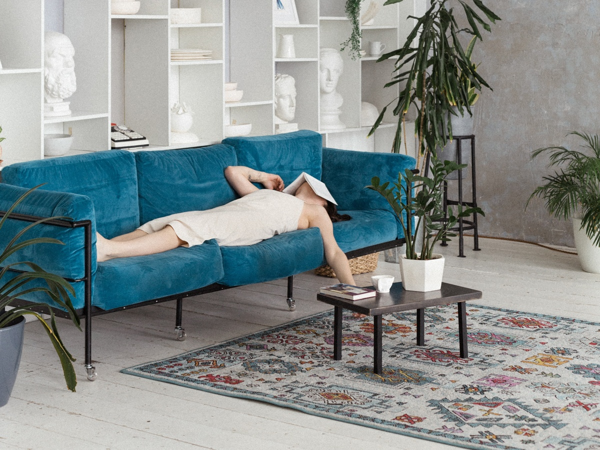 Bleu velours canapé salon et texture