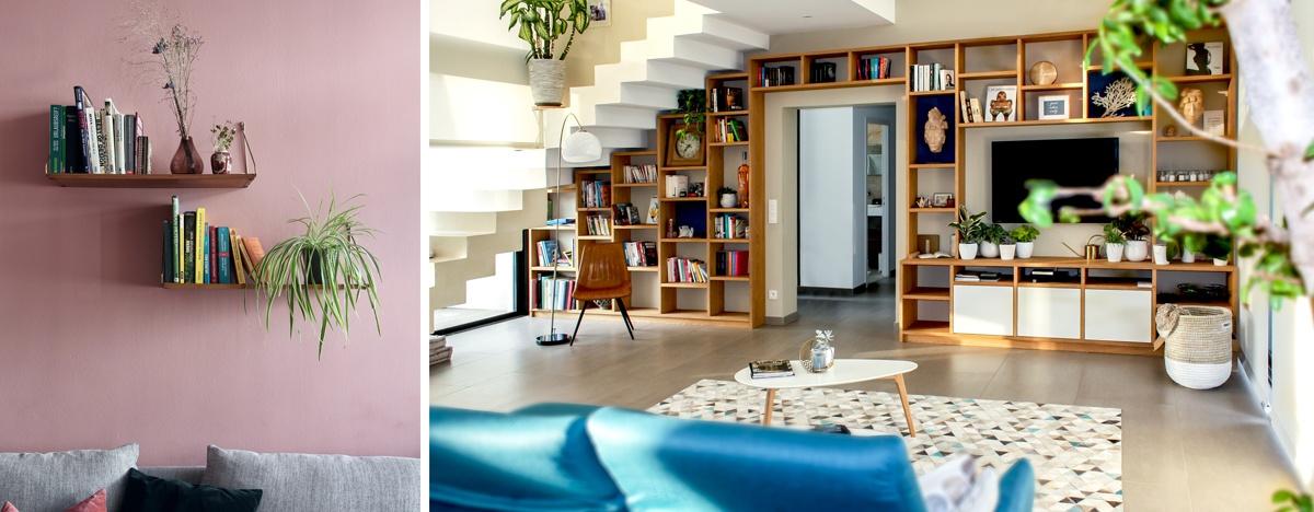 Meubles et étagères placés pour atténuer le son dans une pièce