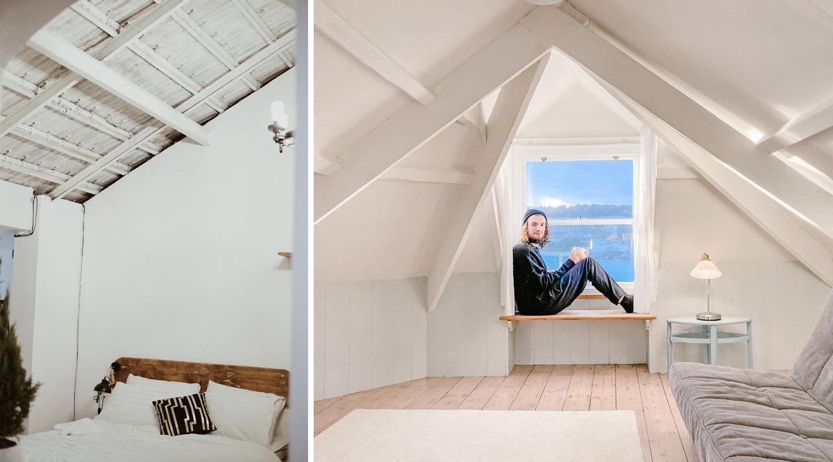 Plafond et poutres peints en blanc charpente moderne