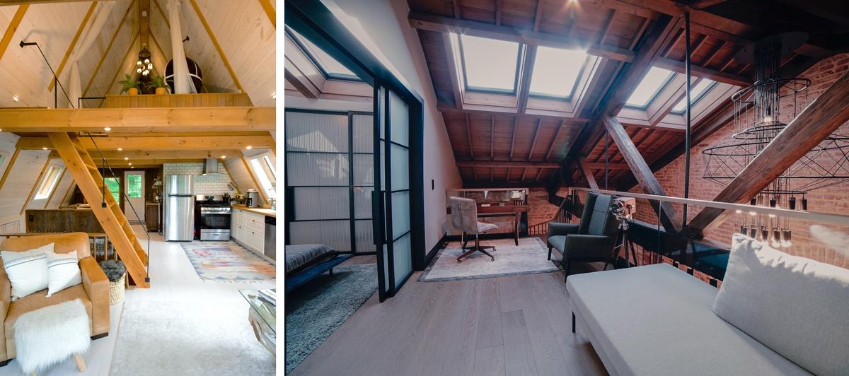Mezzanine aménagée sous les toits avec charpente