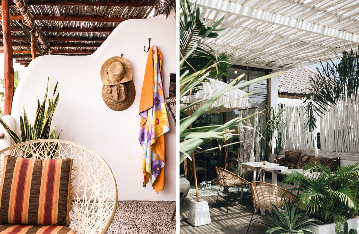 Toit en rondin de bois flotté jardin tropical terrasse