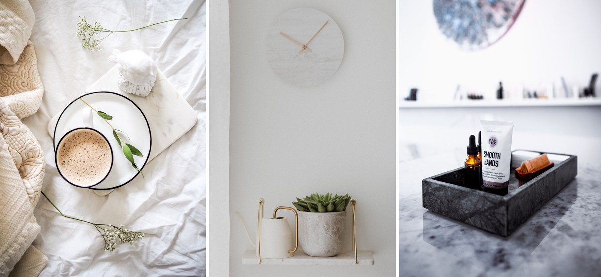 Accessoires en marbre pour la déco : plateau, horloge, étagères ou planche à découper